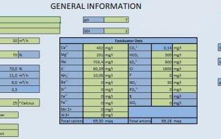 Tabelle mit allgemeinen Daten zur Kalkulation der richtigen Dosierung von Antiscalants