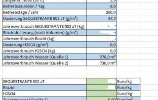 Kühlwasserbehandlung: Tabellen, die Kosten, Chemie und Kühlturmzusatzwasser simulieren